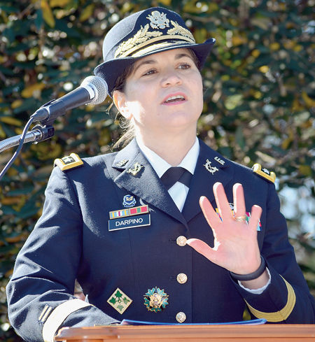 LTG Flora D. Darpino, the Judge Advocate General of the United States Army, delivers the keynote address at the Veterans' Day Ceremony at the Freedom Memorial in Great Falls, Virginia, November 11, 2015