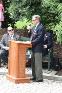 Robert D. Vickers, Jr., Vietnam Veteran and longtime resident of Great Falls, addresses the audience at the Memorial Day Ceremony held at the Great Falls Freedom Memorial, May 29, 2017. Photo by Nancy Wilson.