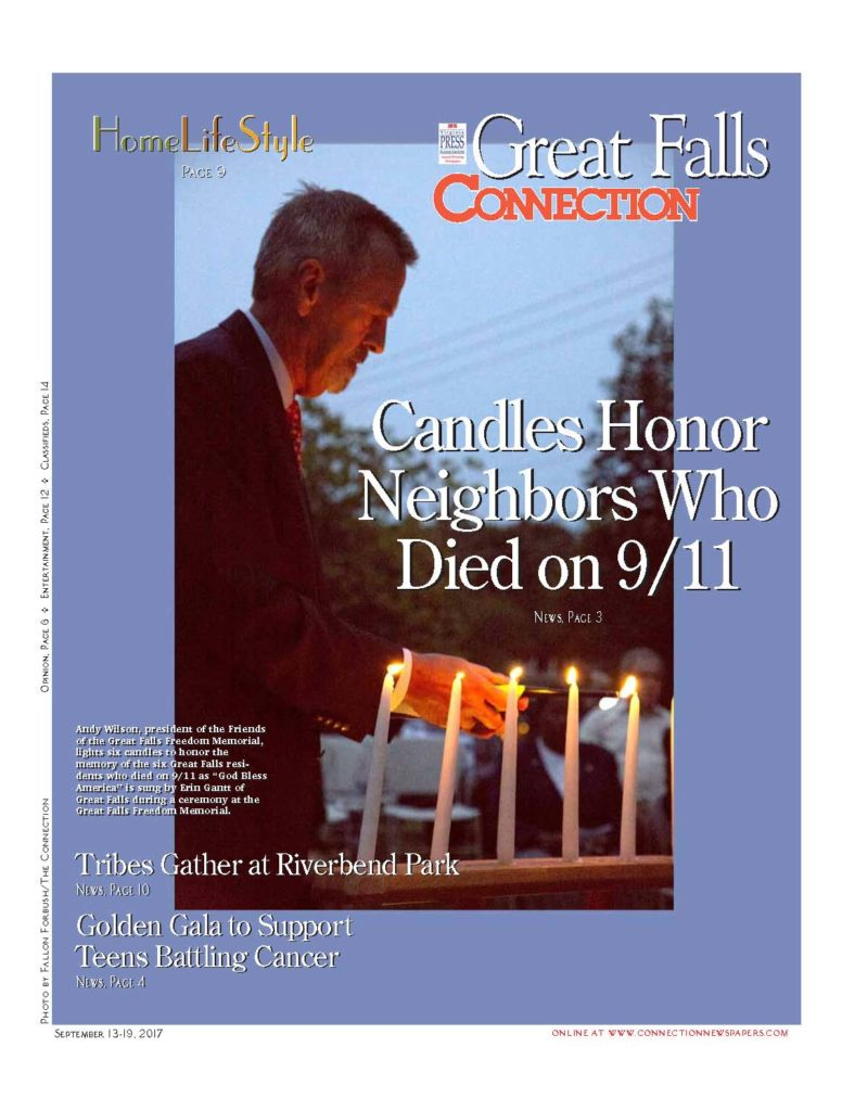 2017 09 13 thru 2017 09 19 Great Falls Connection article re 2017 September 11 Remembrance Ceremony at Great Falls Freedom Memorial--front page