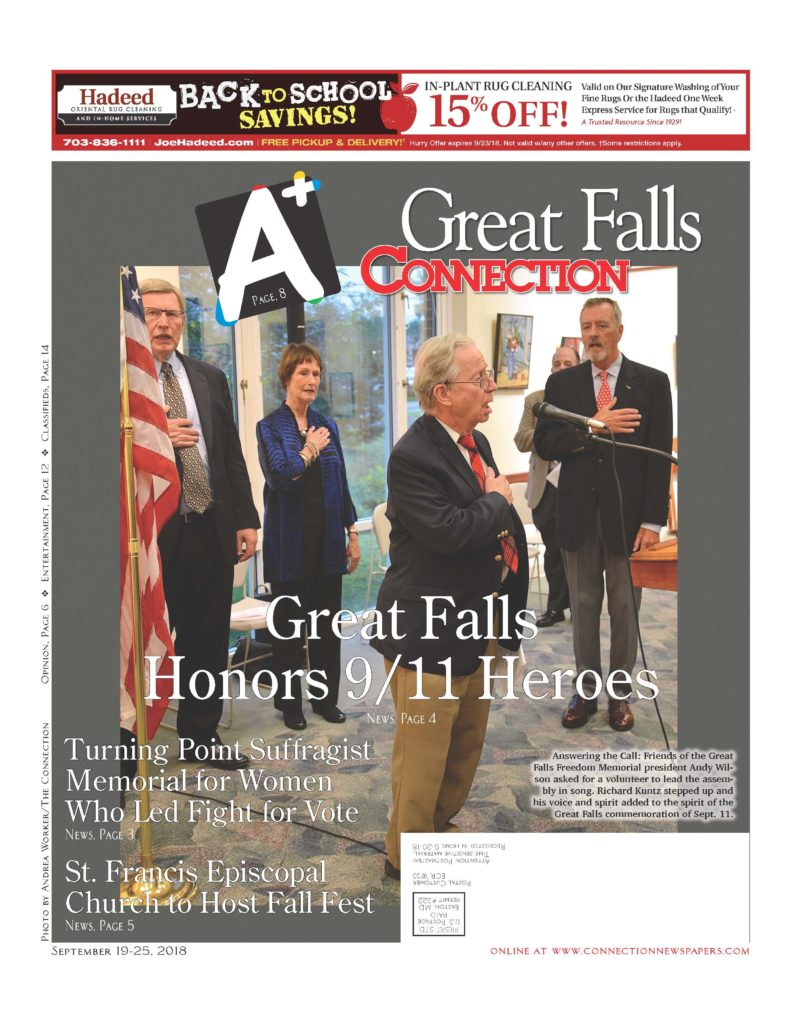2018 09 19-25 Great Falls Connection cover for article re Freedom Memorial 9-11 Remembrance Ceremony