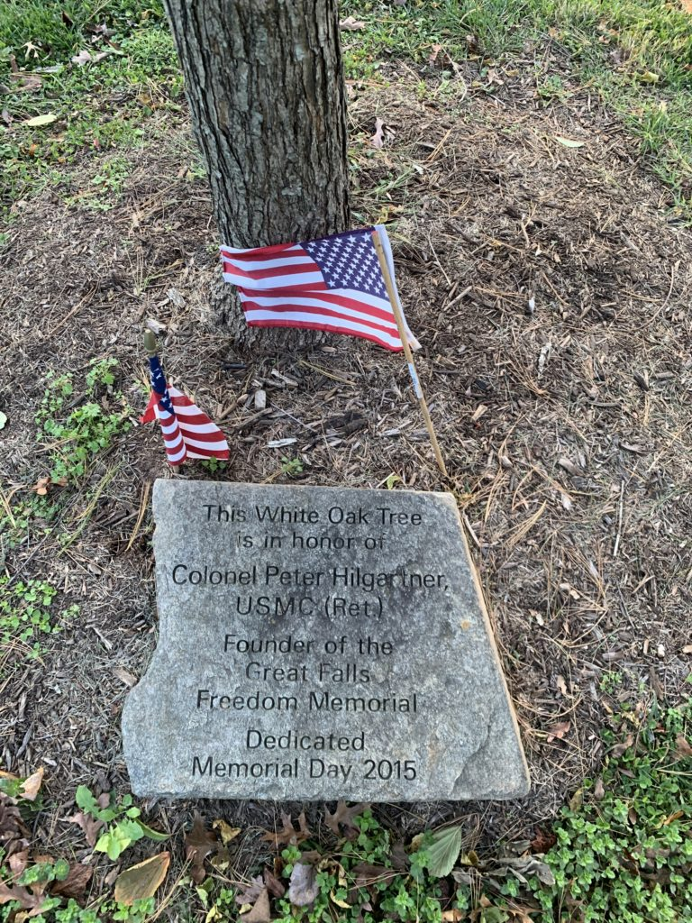 Engraved memorial stone at Colonel Pete Hilgartner memorial tree, Election Day at the Great Falls Freedom Memorial, November 3, 2020